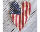 Primitive American Flag Heart . Old Glory Flag Heart . 4th of July decor . red white and blue USA flag americana decor made in the USA