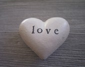 Personalized Love White Heart Rock paperweight / shabby chic wedding decor rustic wedding favors iron anniversary