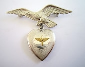 Valentines Day Decor Vintage WWll Sweetheart Pin Valentine vintage heart charm for you to love eagle flag heart
