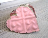 3 Tin Hearts Vintage Shabby Chic wedding decor wedding favors tin ceiling tiles metal hearts