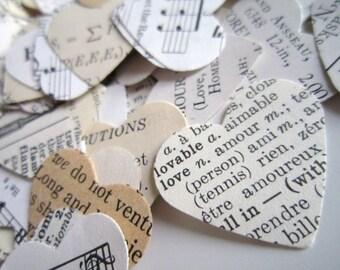 1000 Vintage Wedding Paper Confetti / Eclectic Heart Wedding Confetti