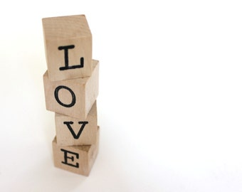 LOVE blocks Personalized Blocks Valentines Day Blocks wooden wedding cake topper wood blocks amor wooden blocks