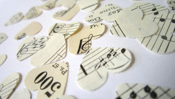Romantic Wedding Decor . sheet music confetti . paper heart confetti . romantic country wedding decor . christian wedding . vintage hymnal
