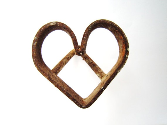 Rusty Old Heart Branding Iron love rust western decor for the cowboy cowgirl rustic wedding decor heart metal heart