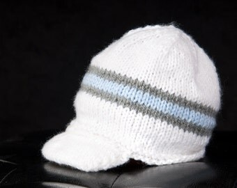 Striped Beanie with a Bill - You Choose Colors