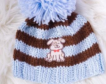 Striped Pom Pom Puppy Beanie