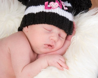 LOVE Black and White Striped Double Pom Pom Hat - Made to Order