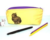 Black cat linen zipper pouch, purple lining