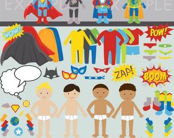 Build your own superhero clip art images, superhero clipart, superhero images (boy)- Instant Download