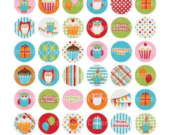 Birthday bottle cap images, owl bottlecap images, one inch circles, royalty free- bc115- Instant Download