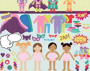 Build your own superhero clip art images, superhero clipart, superhero images (girl)- Instant Download