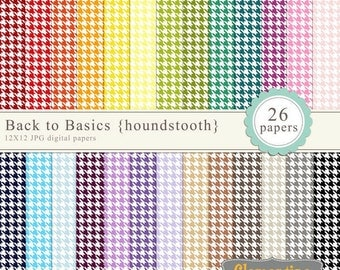 Houndstooth digital paper 12x12, digital scrapbooking paper, royalty free commercial use- Instant Download
