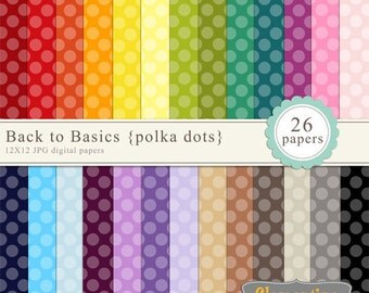 Big polka dot digital paper 12x12, digital scrapbooking paper, royalty free commercial use- polka1- Instant Download