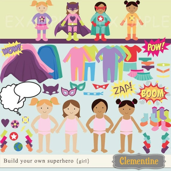 Build your own superhero clip art images, superhero clipart, superhero images (girl)- Instant Download