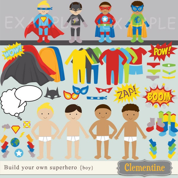 Build Your Own Superhero Clip Art Images Superhero Clipart
