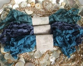 Gorgeous Crinkled Seam Binding Ribbon - Midnight Bundle - Rustic, Shabby Chic, Beach, Cottage, French Country, Wedding