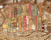 14 Decoupaged Glittered Clothes Pins - Shabby Chic Set - Rustic, Beach, Chippy Cottage, French Country, Wedding