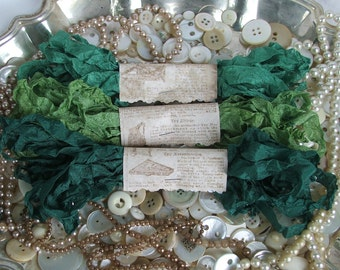 Gorgeous Crinkled Seam Binding Ribbon - Luck of the Irish Bundle - Rustic, Shabby Chic, Beach, Cottage, French Country, Wedding