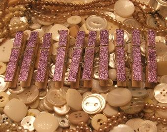 Set of 10 Shabby Chic Lavender Purple Glittered Clothes Pins - Rustic, Beach, Chippy Cottage, French Country, Wedding