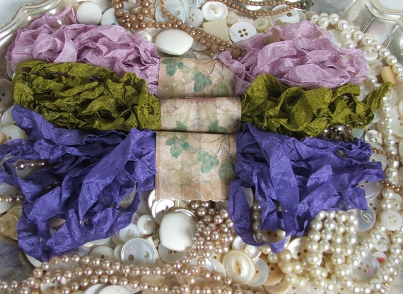 Gorgeous Crinkled Seam Binding Ribbon - Posies Bundle - Rustic, Shabby Chic, Beach, Cottage, French Country, Wedding