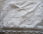Pair of white cotton crocheted lace edged standard pillowcases with tatted flowers