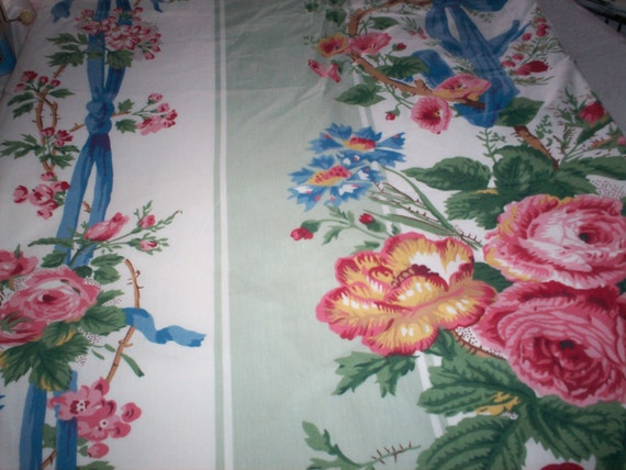 Large piece (12 ft long) of lined fabric with roses and blue bows