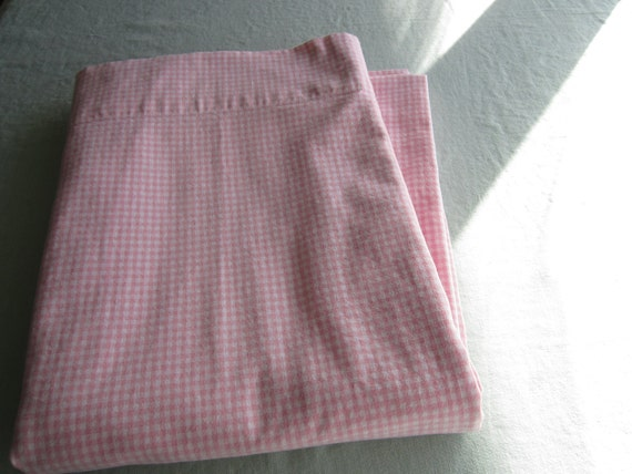 Pink gingham  cotton shower curtain
