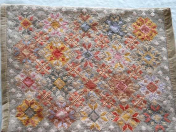 Needlepoint pillow sham with kaleidoscope designs