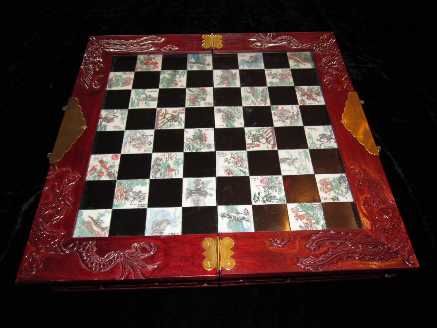 Vintage Japanese Portable Chess Set In Carved Wood By