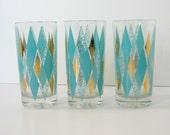 Aqua Diamonds Set of 3 Mid Century Glass Bar Tumblers
