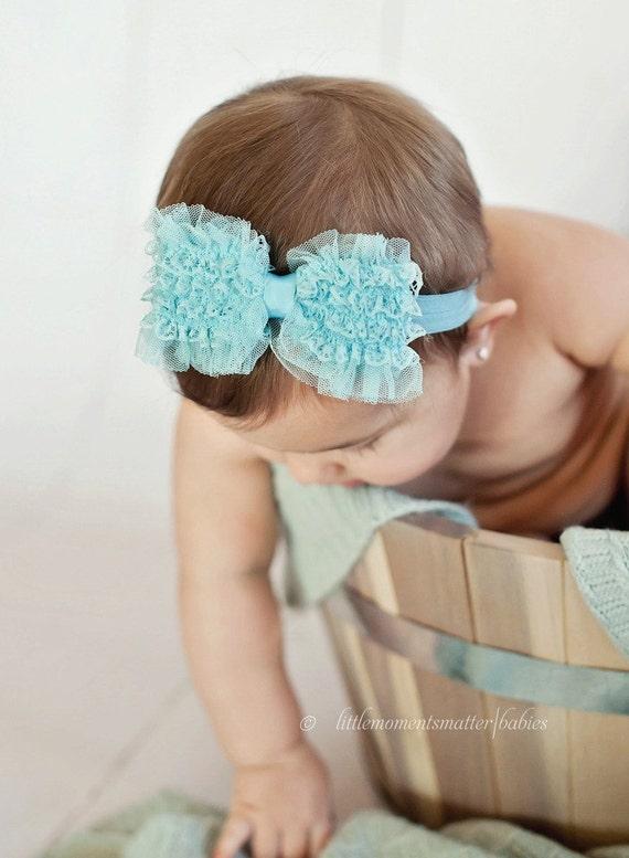 Sky Blue Lace Ruffle Bow Headband or Hair Clip - Satin Frills Collection