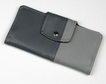 Vinyl Passport Wallet, Vegan Travel wallet in Light and Dark Gray