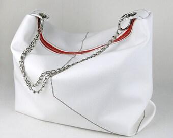 Vegan Hobo Bag in Snow White, Vinyl Shoulder Bag