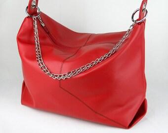 Vegan Hobo Bag in Cherry Red, Vinyl Shoulder Bag