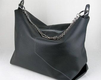 Vegan Hobo Bag in Charcoal, Vinyl Shoulder Bag