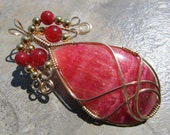 Wire Wrapped Pendant Argentine Rhodochrosite Cabochon & Gold Filled Wire - One of a Kind - Wirewrapped Wire-Wrapped