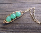"""3 Peas In A Pod Pendant in Gold with Glowing Chrysoprase """"Peas"""""""