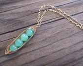 """4 Peas In A Pod Necklace in Gold with Glowing Chrysoprase """"Peas"""""""