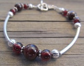 Garnet Bracelet in Silver, January Birthstone