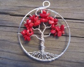 Tree of Life Wire Wrapped Pendant in Rich Red Coral Wirewrapped Wire-Wrapped Handmade