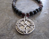 Mens Garnet, Black Onyx and Blue Tigers Eye Celtic Necklace in Sterling Silver with Silver Bali Beads