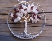Tree of Life Wire Wrapped Pendant in Rhodolite Garnet & White Moonstone Wirewrapped Wire-Wrapped Handmade