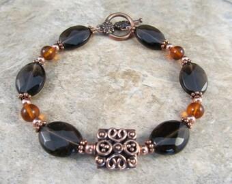 Amber, Smoky Quartz & Copper Bracelet
