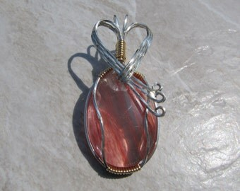 Wire Wrapped Pendant Mixed Metals Cherry Quartz in Sterling Silver & Gold Fill - One of a Kind - Wirewrapped Wire-Wrapped