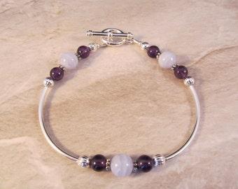 Blue Lace Agate & Amethyst Bracelet in Silver