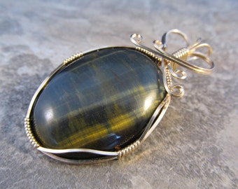 Wire Wrapped Pendant Blue Tigers Eye & Gold Filled Wire - One of a Kind - Wirewrapped Wire-Wrapped