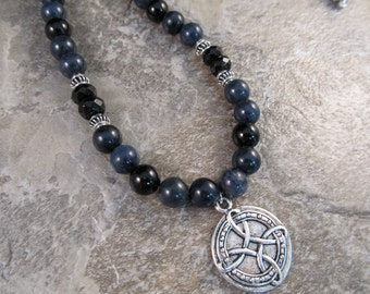 Mens Beaded Celtic Necklace in Sterling Silver with Celtic Pendant in Dumortierite, Black Onyx