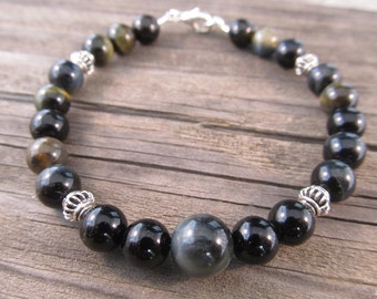 Mens Black Onyx and Blue Tigers Eye Bracelet in Sterling Silver with Silver Bali Beads