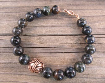 Mens Blue Tigers Eye Bracelet in Antiqued Copper with Handmade Bali Bead