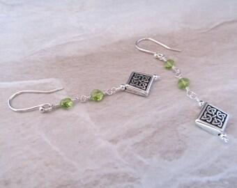 Peridot & Celtic Diamond Earrings in Sterling Silver
